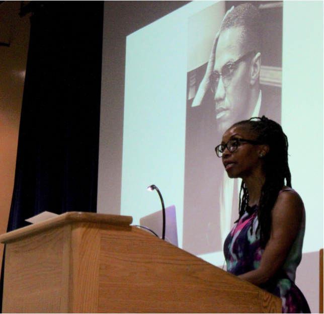UCSB alumna Ula Taylor spoke on the relationship between Malcolm X and the Nation of Islam to students in Embarcadero Hall.