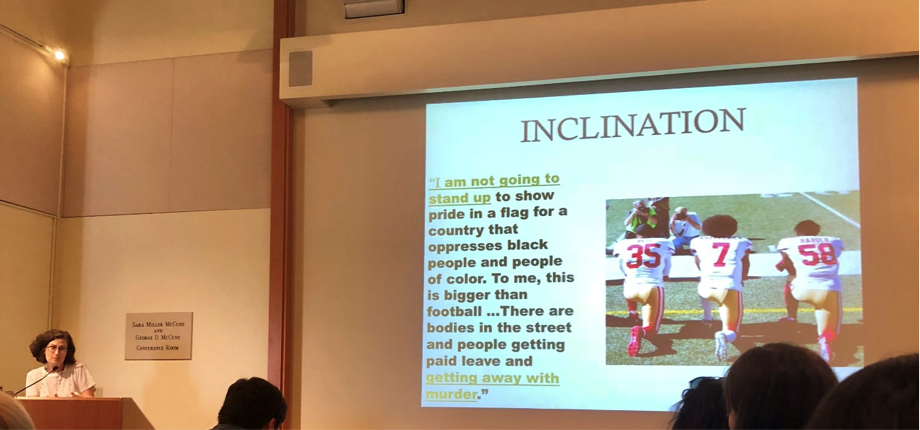 """Brown University professor Bonnie Honig explains why refusal is an important part of democratic citizenship in her talk, """"Postures of Refusal: From Antigone to Kaepernick,"""" the finale of the 2018 Critical Issues in America series: Changing Faces of U.S Citizenship."""