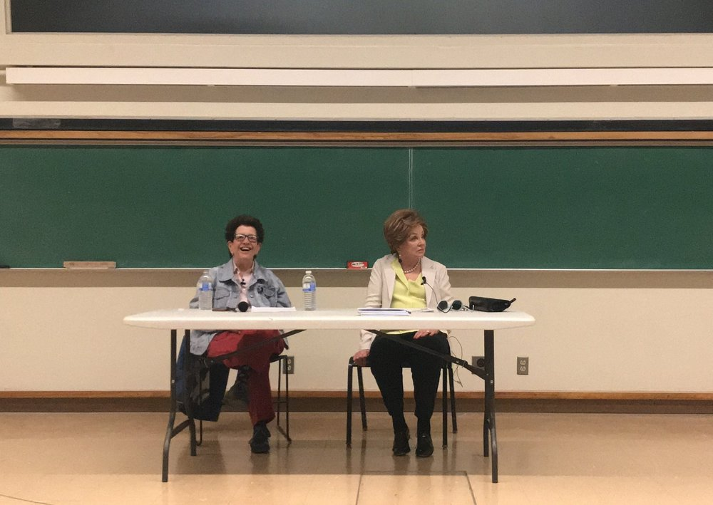 History professor Laura Kalman (left) introduces historian Jane Sherron De Hart (right), who spoke last weekend about the process of writing her new biography.