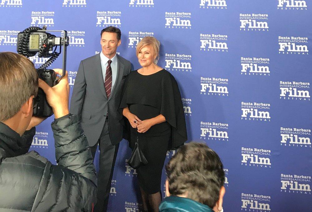 Australian Actor Hugh Jackman poses with his wife, Deborra-Lee Furness.