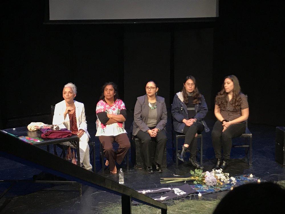 Director Doris Difarnecio (left) and playwright and actor Petrona de la Cruz Cruz (second from left) participate in a Q & A after De la Cruz Cruz's performance Tuesday.