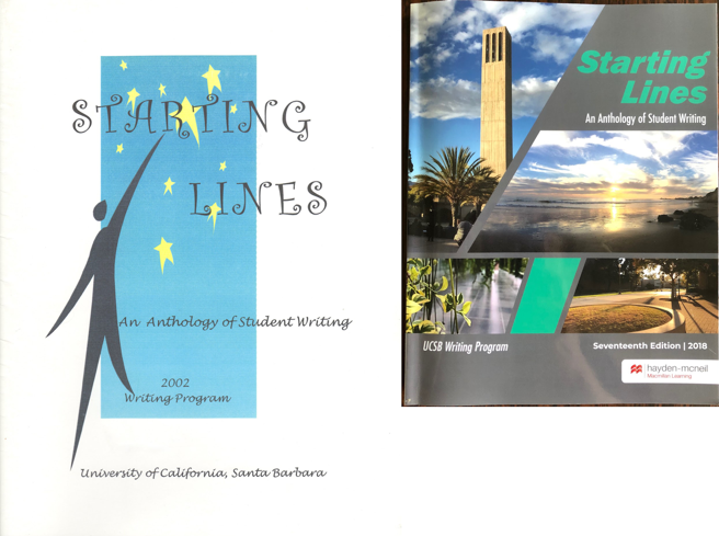 The inaugural edition of Starting Lines, 2002 (left), and the most recent edition, 2018 (right).