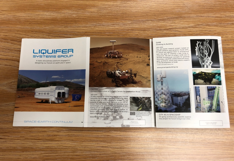 A pamphlet that briefly outlines the projects that Barbaraa Imhof's LIQUIFIER Systems Group develops.