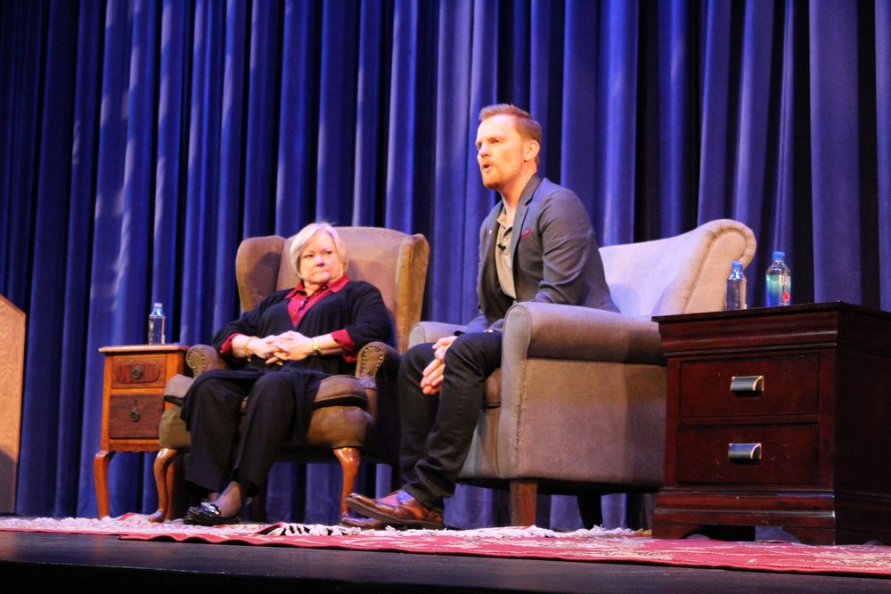 Judy Shepard accompanied by event host Eric Jorgensen, director of the current UCSB production of The Laramie Project.
