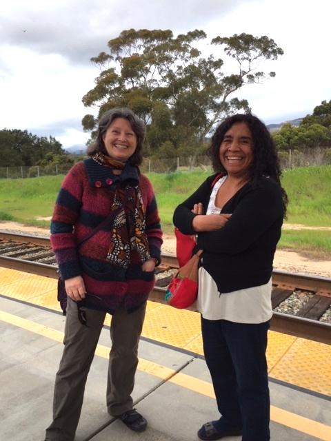 Ruth Hellier-Tinoco (left) and Petrona de la Cruz Cruz (right) at Goleta Train Station.