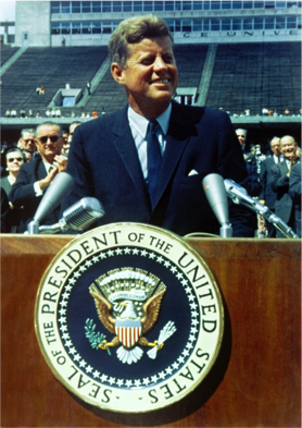 Former President of the United States John F. Kennedy speaking at Rice University on September 12, 1962.