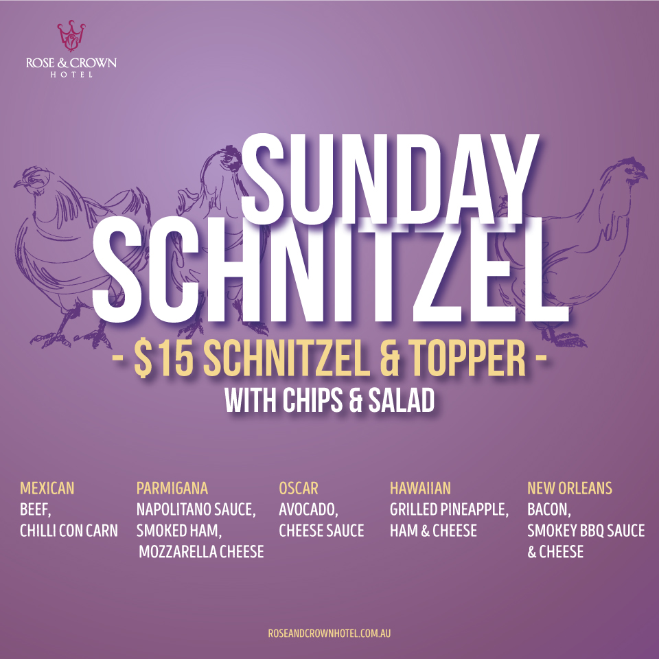 SUNDAY $15 SCHNITZEL TOPPER   Served with chips & salad.