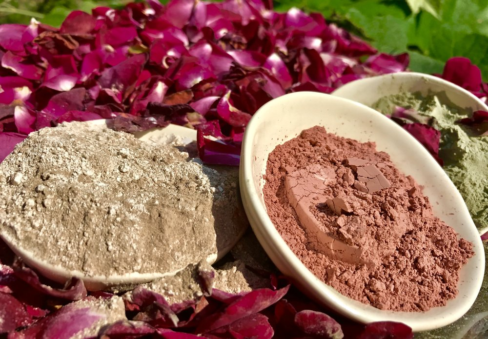 Mineral Clay Mask Kit Rose petals Rosewater Rhassoul Clay French Rose Clay  Green Sea Clay Prismatic Personalized DIY Fresh Natural Skincare and beauty kits
