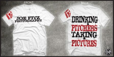 Original mock up of the Drinking Pitchers Taking Pictures shirt