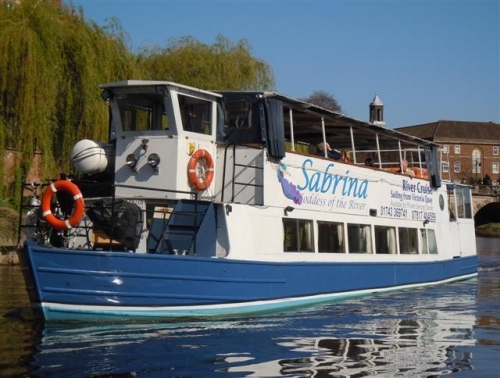 Sabrina BoatT: 01743 369 741  - www.sabrinaboats.co.ukSabrina is a triple deck, modern passenger boat capable of carrying 60 passengers in comfort with retractable roof and sides on the top deck. We are an independent business, with local management on board, the focus is to provide a first class service to both day and evening passengers