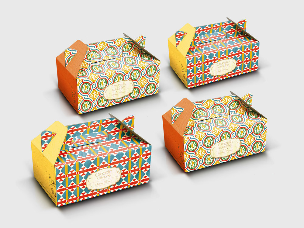 Packaging design - Pastry box packaging for Orobelloi nspired by Sicilian tiles