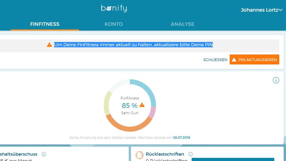 Die PIN zum Online-Banking muss nicht gespeichert werden, man bestimmt selbst, wann bonify aufs Konto schaut