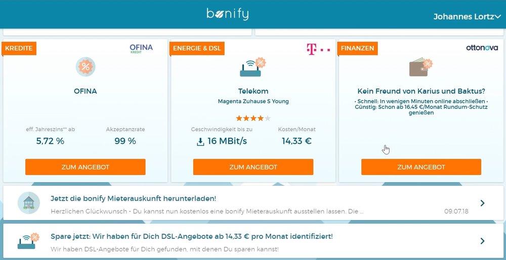 Die Spar-Angebote bei bonify