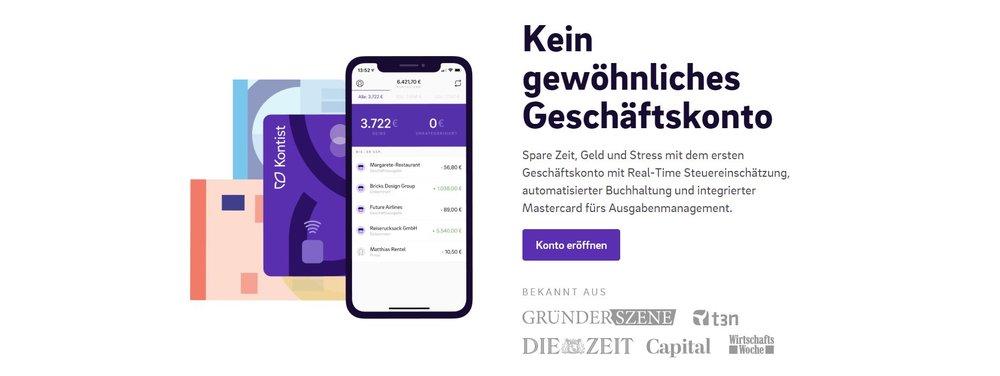 Das Geschäftskonto von Kontist wartet mit praktischen Funktionen auf, wie der Real-Time Steuereinschätzung und der automatisierten Buchhaltung