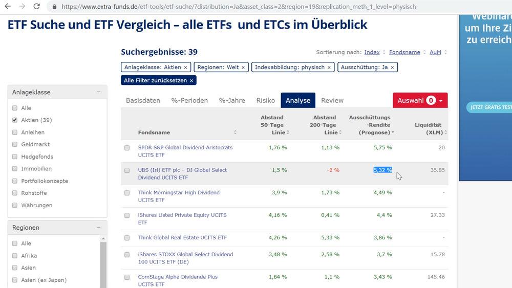 """Bei der ETF-Suche kannst du dir die Titel über den Reiter """"Analyse"""" und einen Klick auf """"Ausschüttungsrendite"""" nach der Dividendenrendite sortieren lassen"""