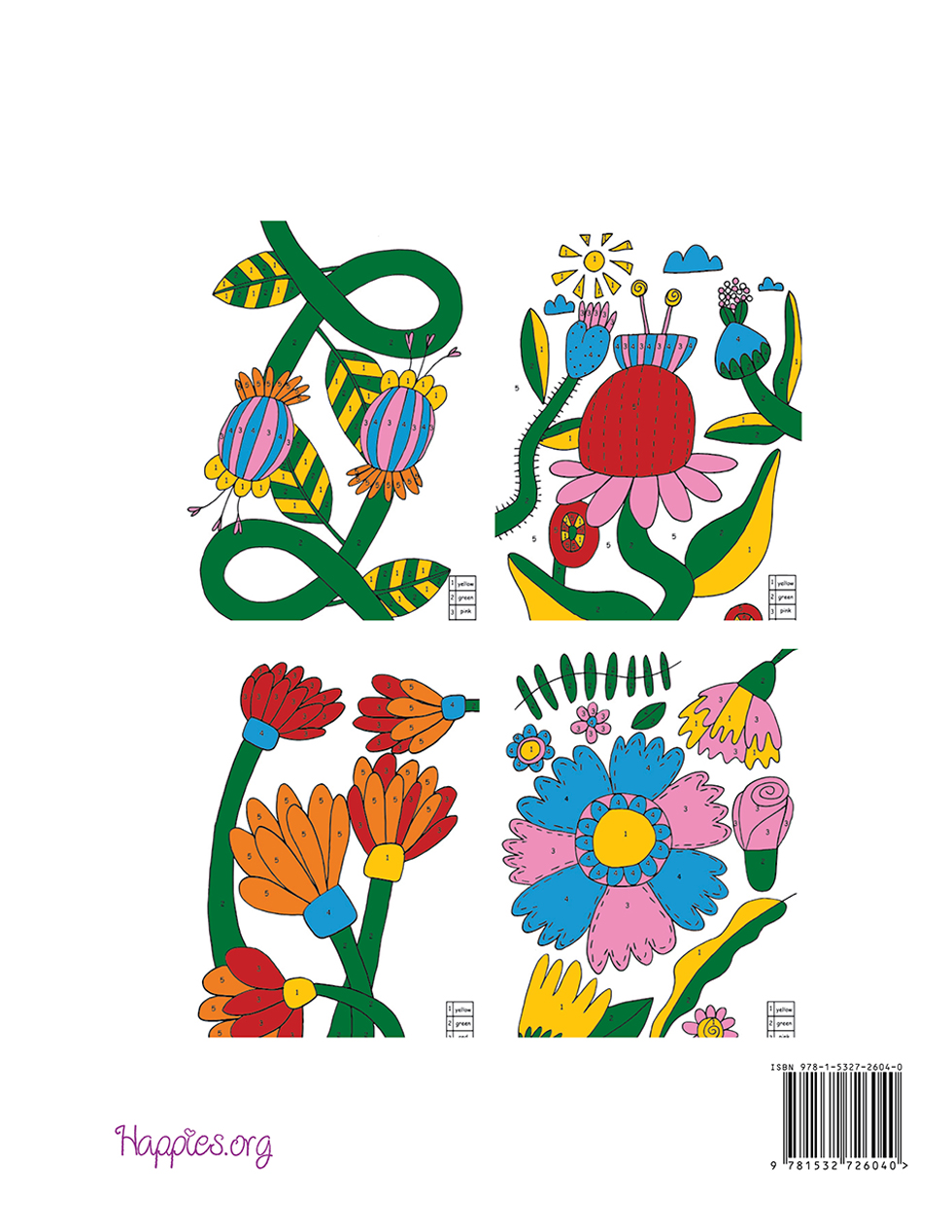 Happies - Colour by Numbers Coloring Book for Adults Flowers