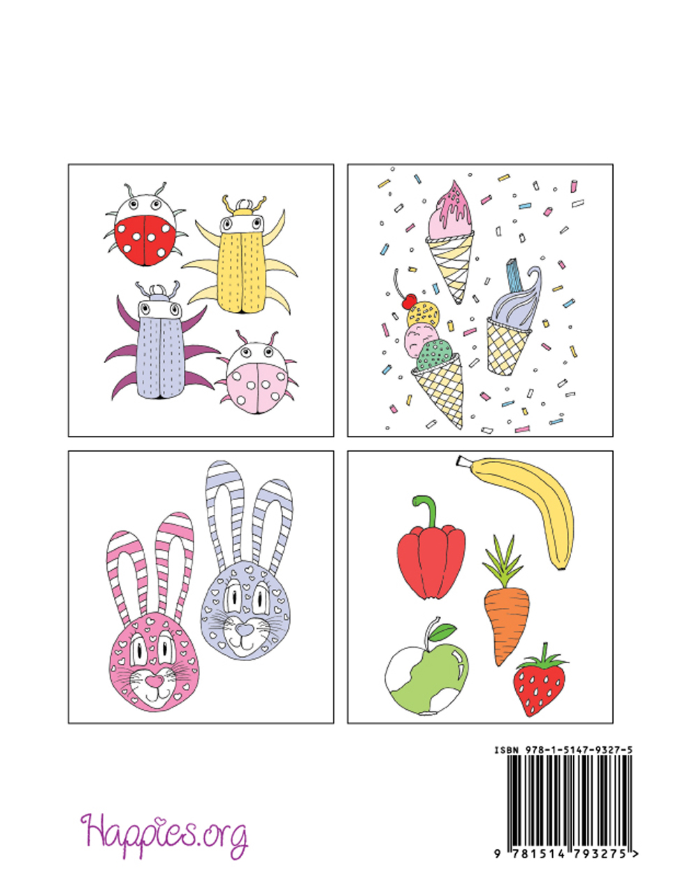 Happies - Stress Relieving Coloring Book for Kids