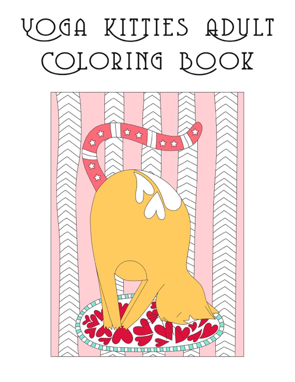 Yoga Kitties Adult Coloring Book