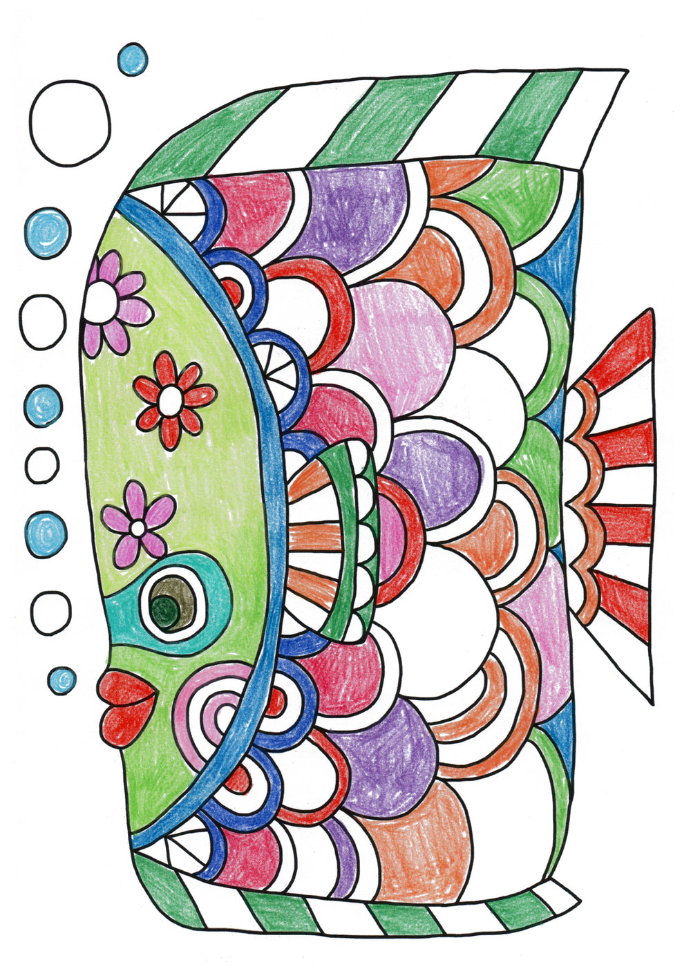 Fish Coloring Page byAnna. Age 8. - Santa Monica, California.
