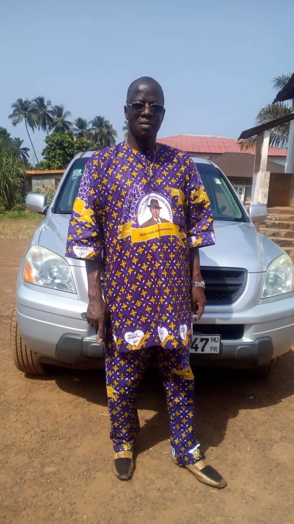 Daddy in Freetown wearing, the anniversary asoebi for JH Doherty 90 anniversary since he passed.