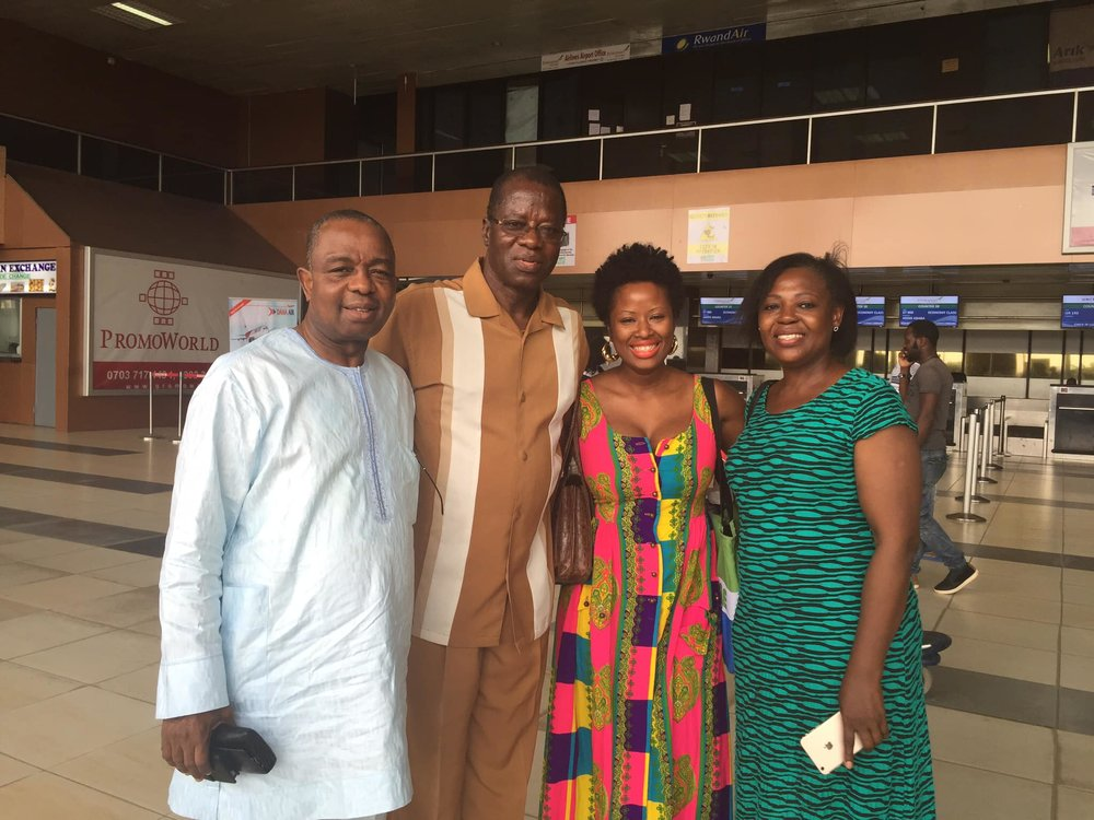 At the airport with Uncle Wale, Daddy, and Aunty Subu (Uncle Wale's wife) in Lagos in March 2016 after a family reunion