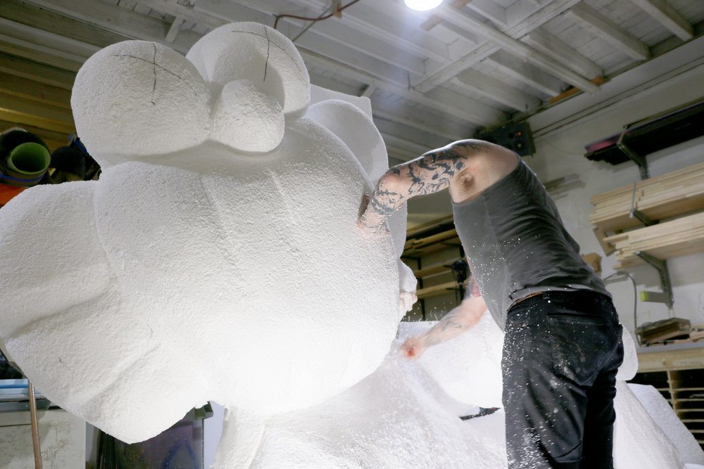 FOAM CARVING - Foam is a cost-effective, durable, lightweight, and versatile material, which we carve for a variety of custom structural and aesthetic applications. Using Expanded PolySterene as our main sculpting material, our resident artists are able to hand-cut imaginative and functional pieces with precision and speed.