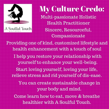 My Misson - Here at A Soulful Touch Wellness, you are provided with the opportunity to heal and grow in the confines of your home, office, retreat, or workshop. It is my goal to offer quality and affordable services to help you on the path of being a well-being.