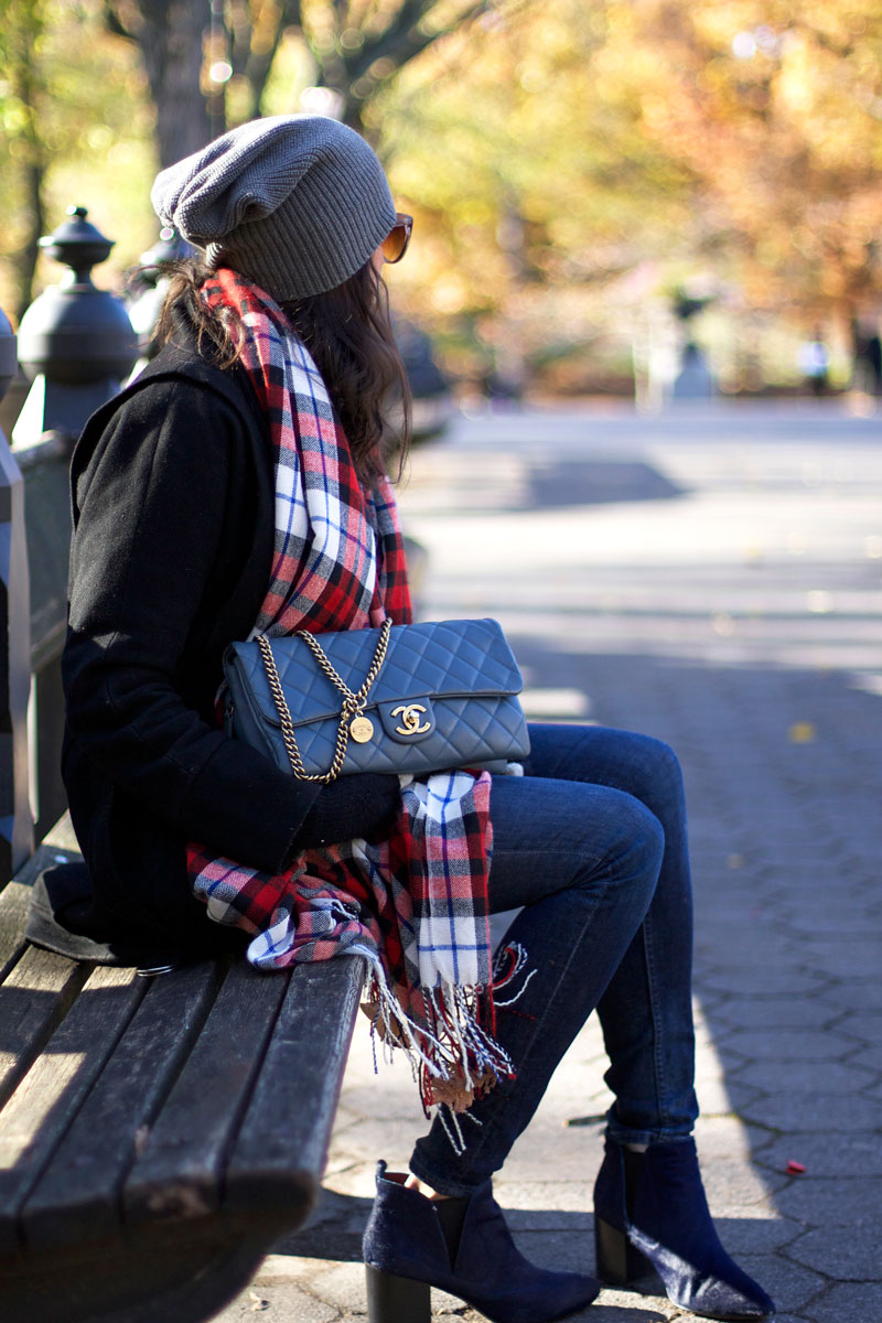 Forever-21-Plaid-Scarf-and-Blue-Chanel-Bag.jpg