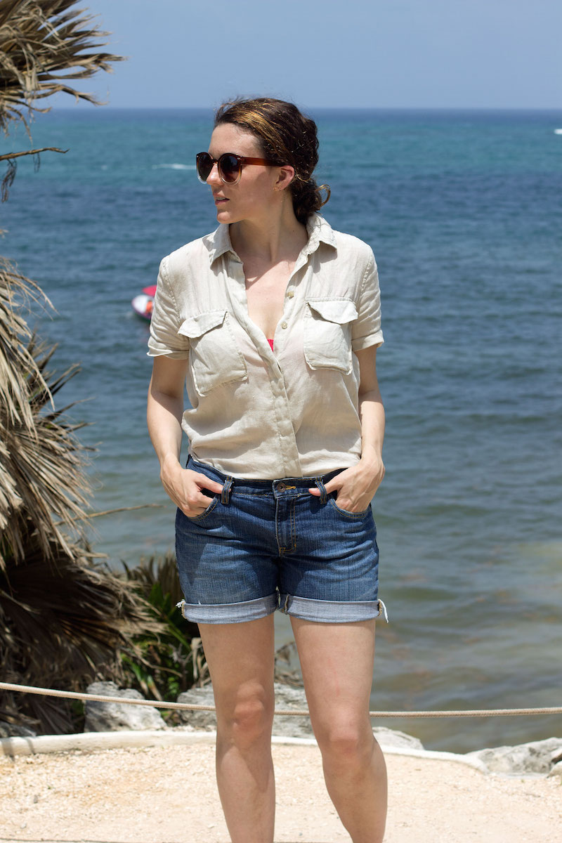 tan-blouse-and-denim-shorts-in-Tulum-Mexico.jpg