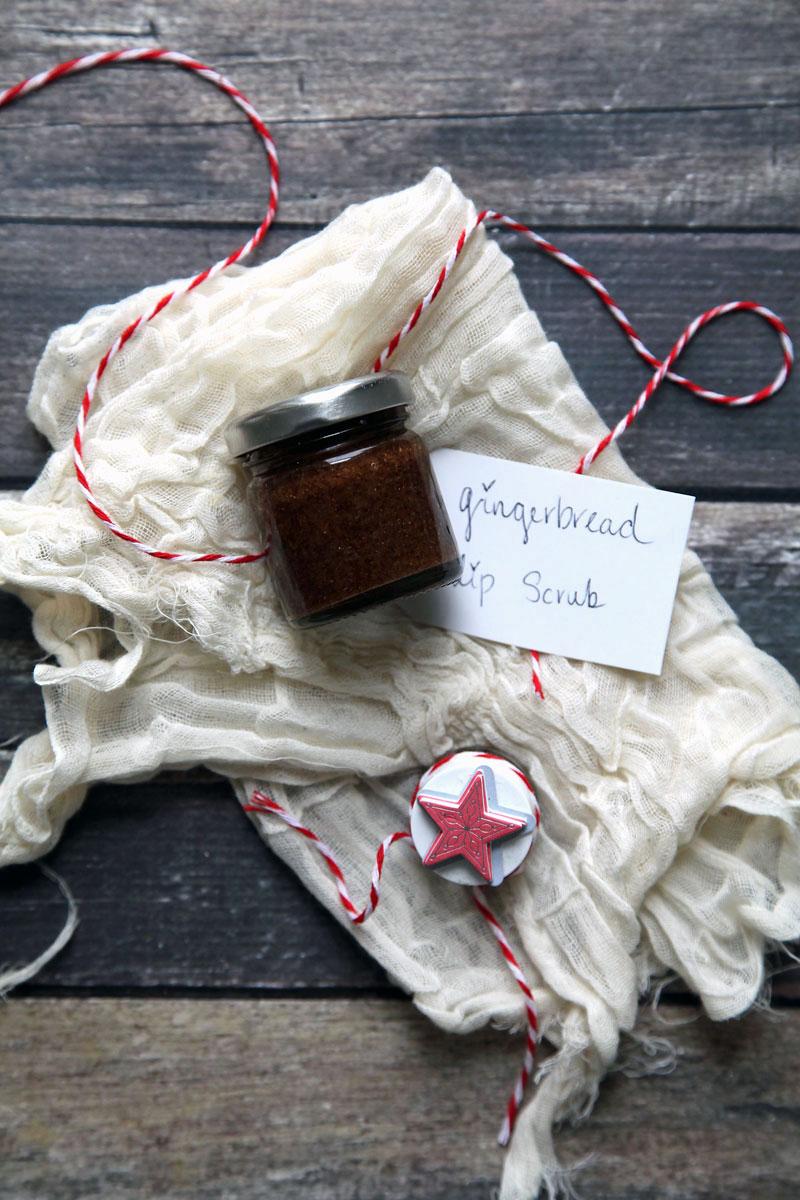 gingerbread lip scrub in a jar