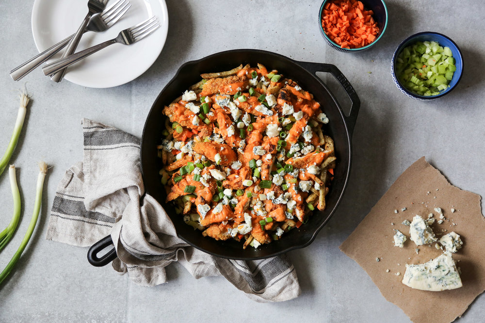 BUFFALO CHICKEN POUTINE - serves 4-6