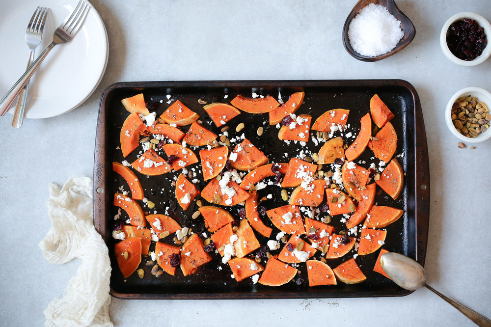 ROASTED BUTTERNUT SQUASH WITH FETA - Serves 4