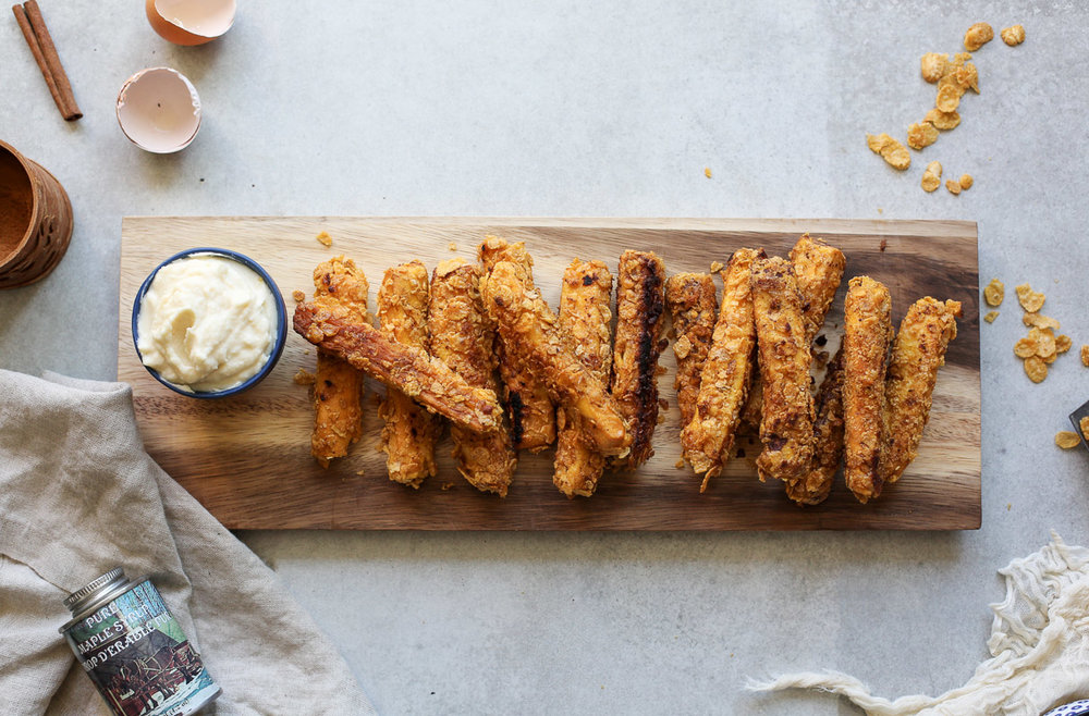 CORNFLAKE CRUSTED CINNAMON ROLL FRENCH TOAST STICKS WITH MAPLE MASCARPONE DIPPING SAUCE - yields 20
