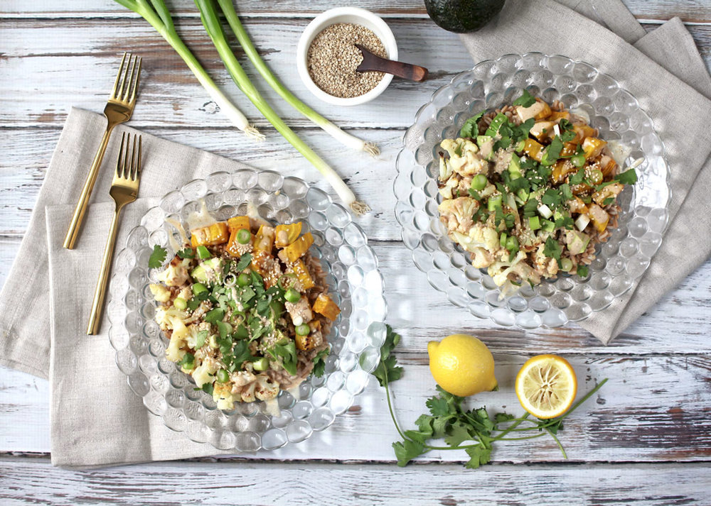CAULIFLOWER + GRAIN BOWLS WITH TAHINI DRESSING - Serves 2