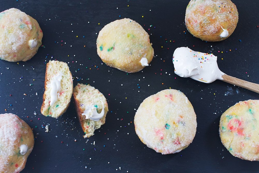 STUFFED FUNFETTI DONUTS - Serves 8