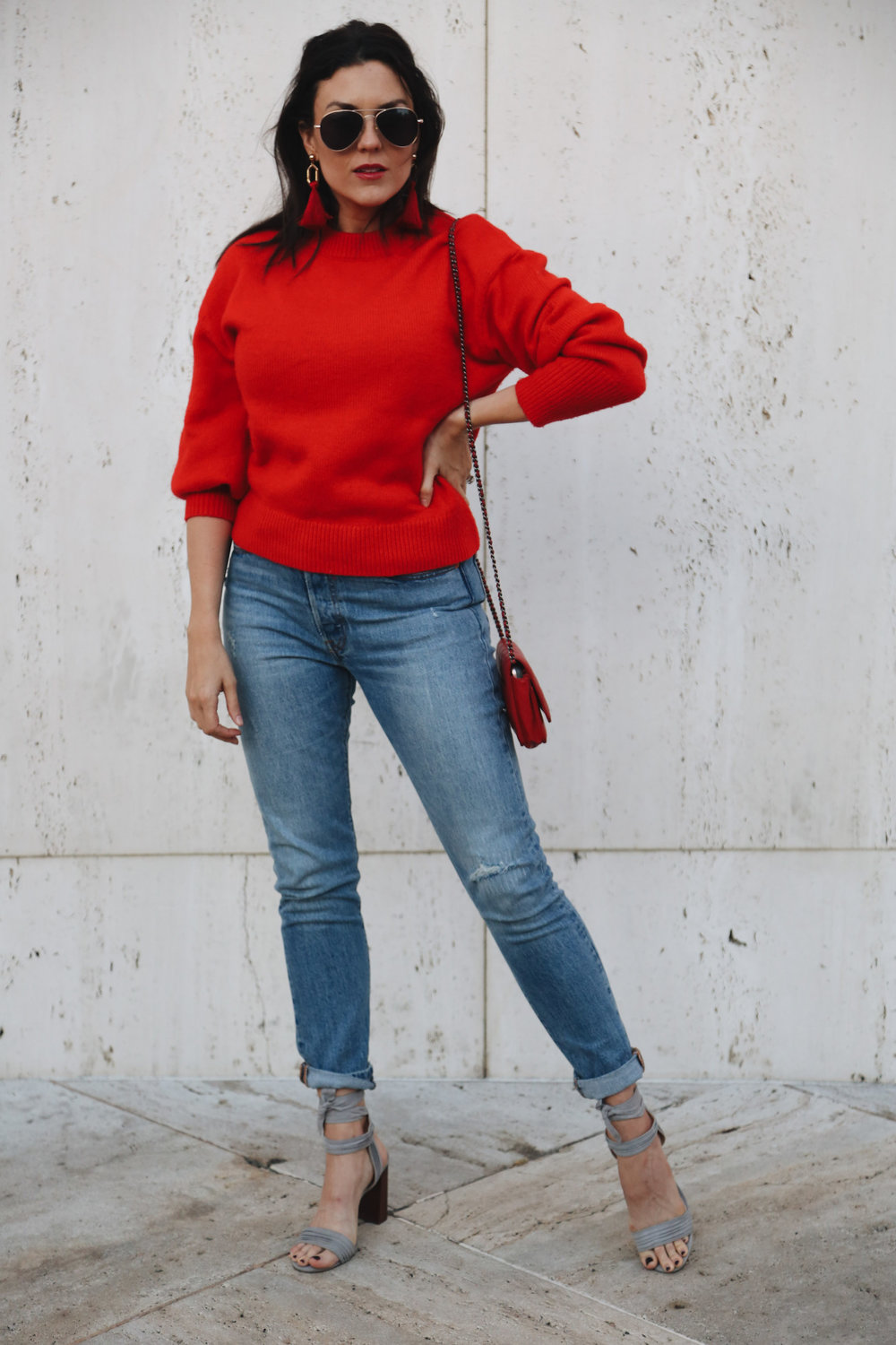 COZY HOLIDAY RED - ...for the times when you need to be sort of dressy but you also kind of want to be casual (i.e. for grabbing cocktails)