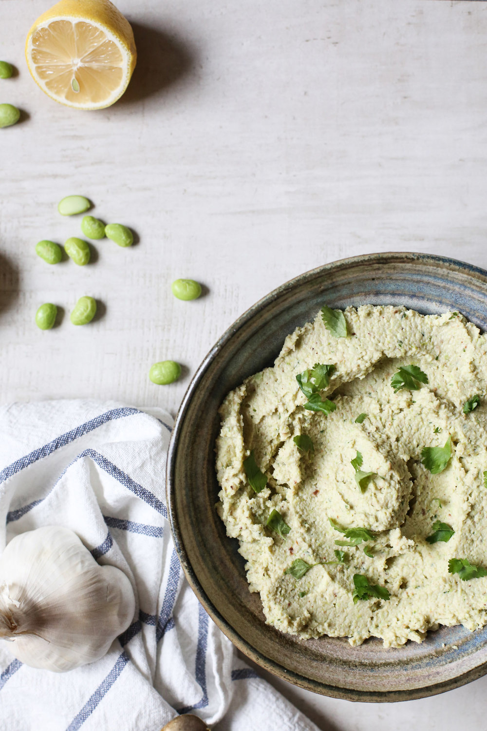 ROASTED CAULI + EDAMAME HUMMUS - Another healthy dip that's perfect for in advance (even a few days advance). Plus, it's green (Duh!), so it really doesn't get more festive than this.