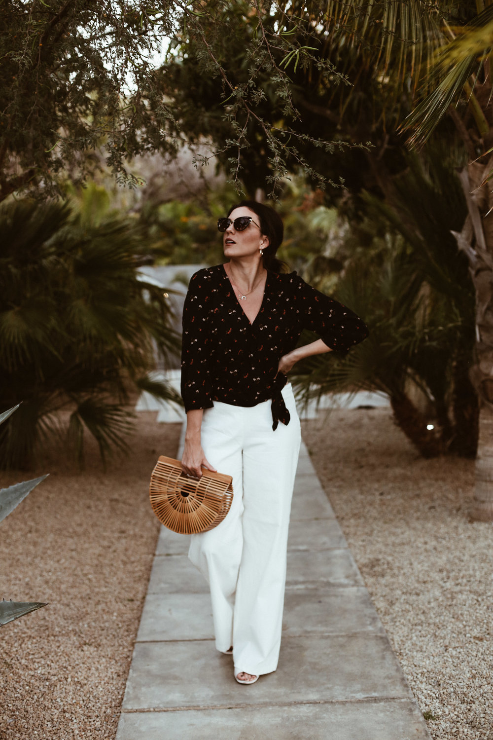 WHAT I'M WEARING - GLANCE EYEWEAR SUNNIES (via Nordstrom)H&M EARRINGS (similar)MADEWELL TOPMAX STUDIO PANTS (similar)NINE WEST SHOESCULT GAIA BAG