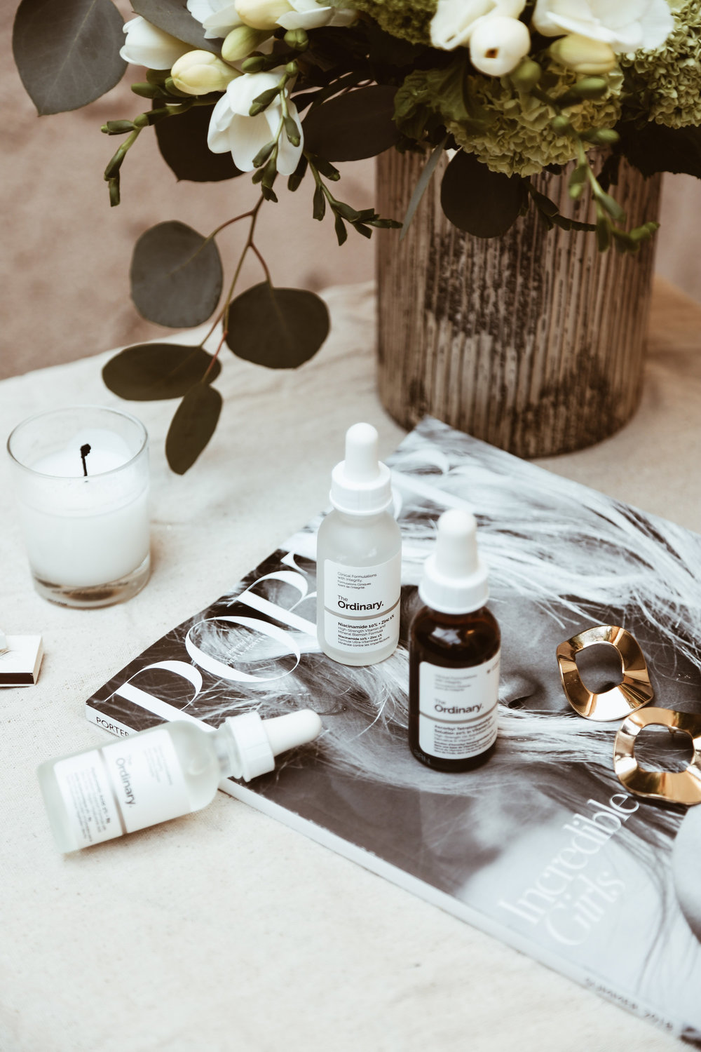 THE ORDINARY - I finally tried this cult beauty favorite. The prices are unbelievably reasonable (some of the items are less than a cup of coffee), and so far they seem good. None of the products have bothered my sensitive skin, too, which is always a big win in my book.So far the products that are really standing out to me are the hyaluronic acid (for intense moisture), the lactic acid (helps me wake up with glowing skin),the ascorbic tetraisopalmitate solution (to help with uneven skin tone) and niacinamide (to help with breakouts).
