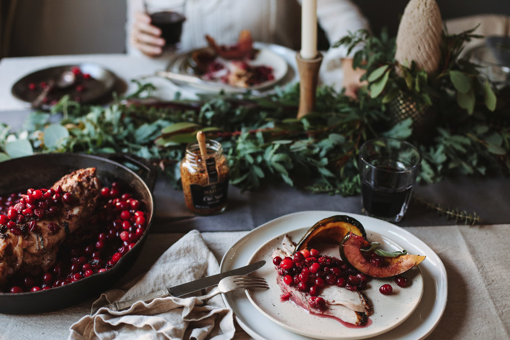 One-Pan Roasted Turkey with Maille Old Style Dijon, Bourbon + Maple Cranberry Sauce and Acorn Squash Wedges - prep time: 10 minutes cook time: 45-60 minutesserves 4