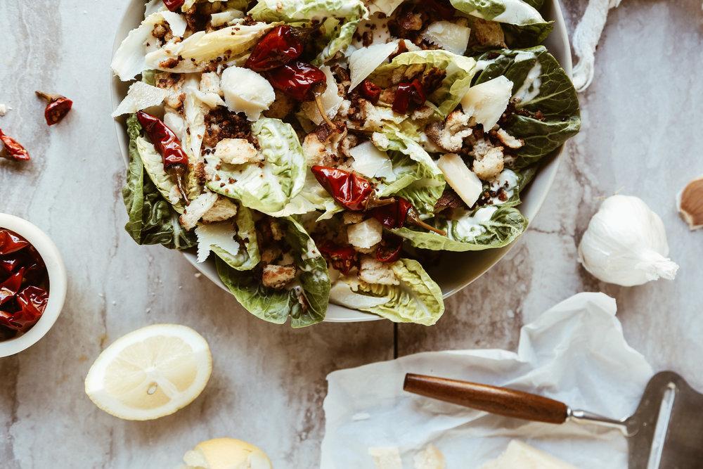 Little Gem Caesar Salad with Calabrian Chili Dressing + Pretzel Croutons - serves 2-4