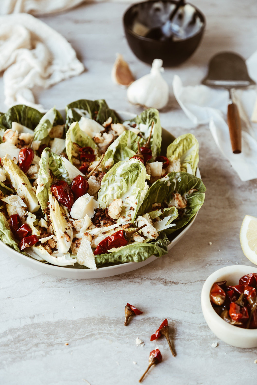 Little Gem Caesar Salad with Calabrian Chili Dressing + Pretzel Croutons-7.jpg
