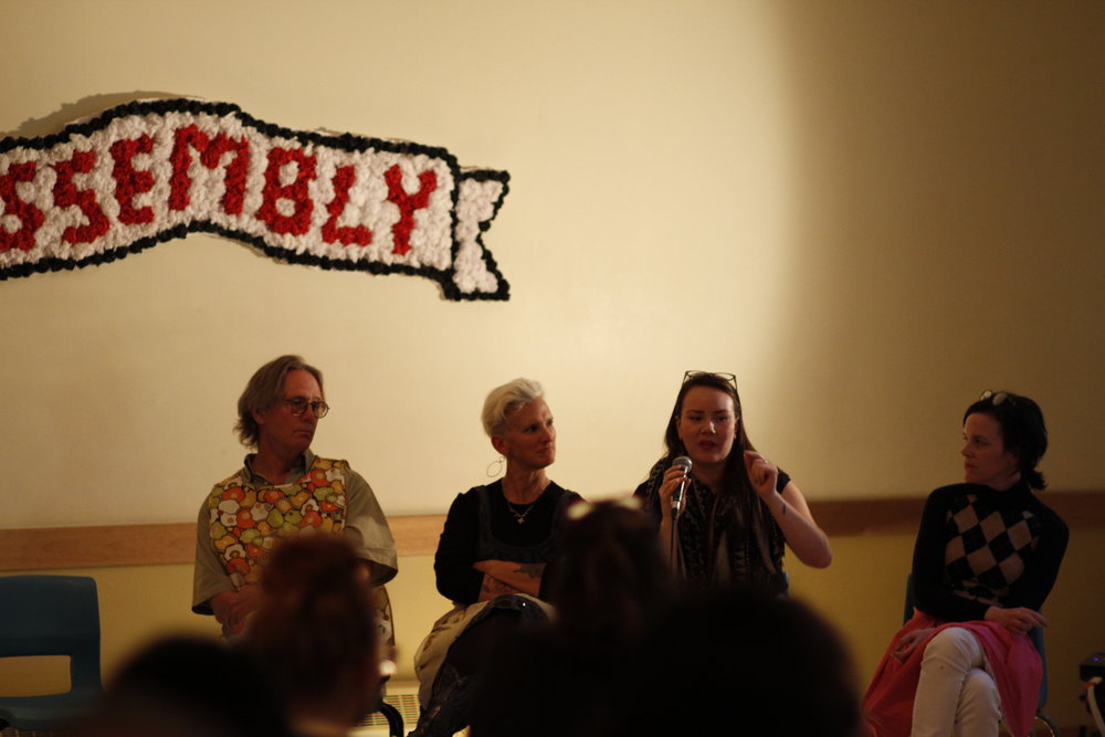Kip Jones, Claudia Manley, Becca Taylor, and Lesley Johnson speak at the Opening Night Roundtable in 2016.