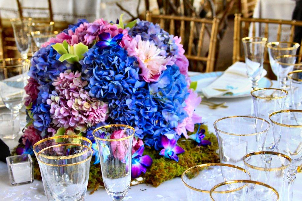 Centerpieces Pink Peonies Blue Hydreangea Green Cymbidium Orchids (2).jpg
