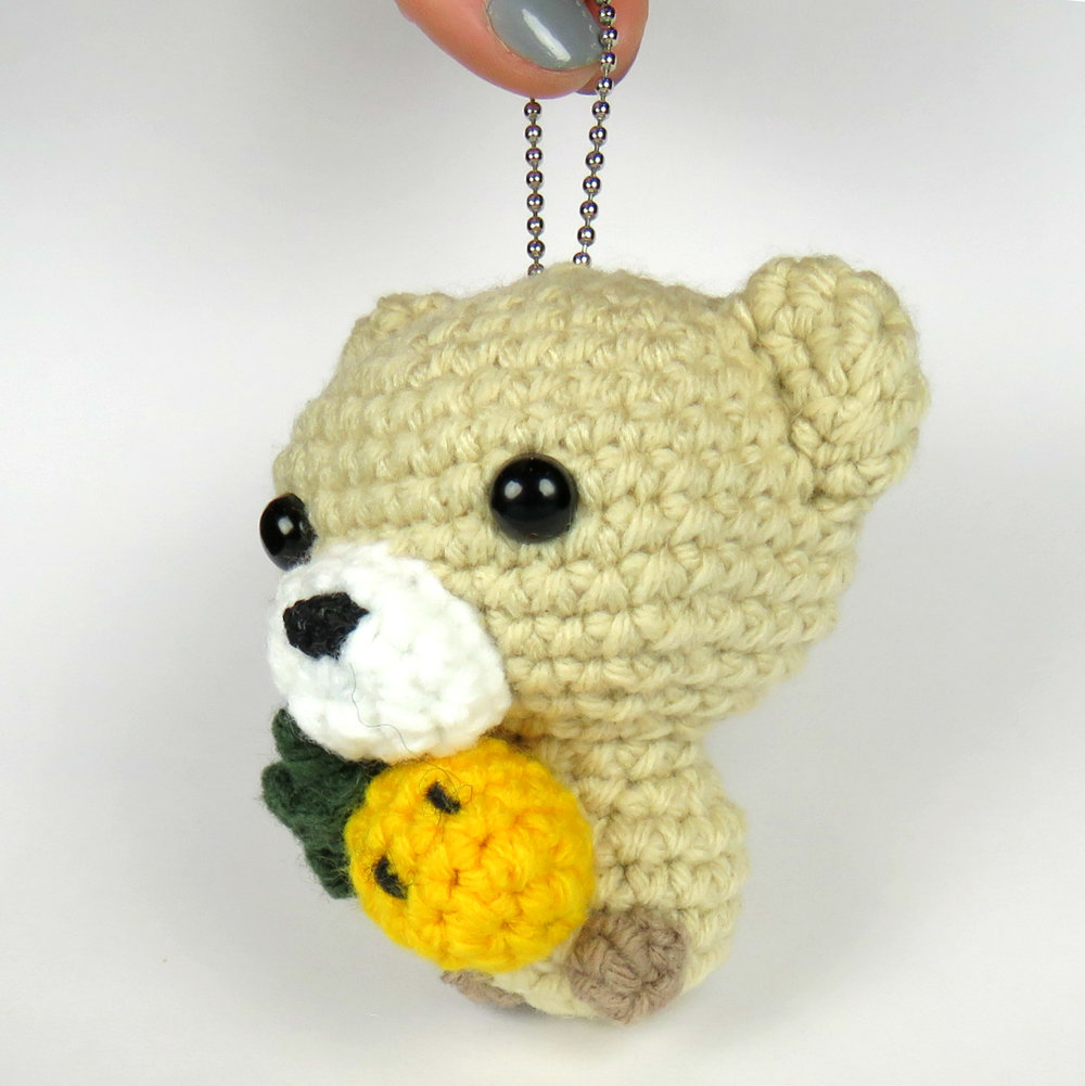 Cubbie the Baby Bear with Pineapple Pattern on keychain