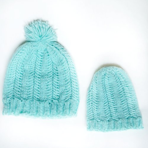 Adult and Baby hat in Mint.