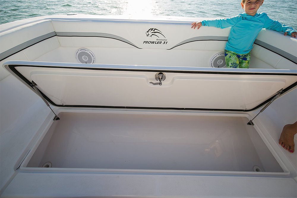 383 qt. insulated forward fish locker with overboard drain