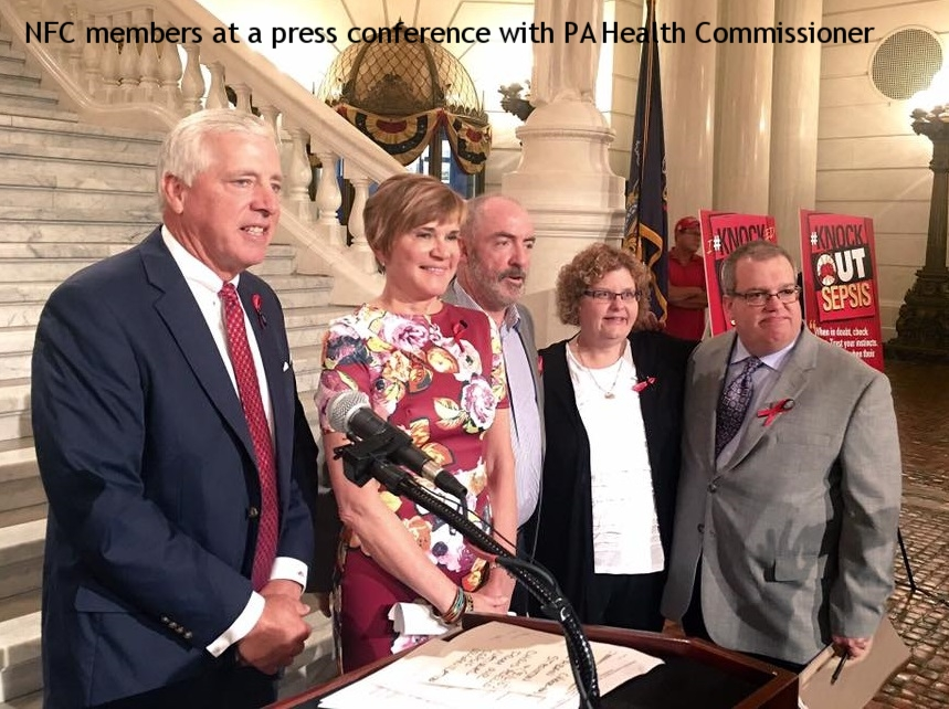 Council members at a press conference with the PA Health Commissioner, 2016
