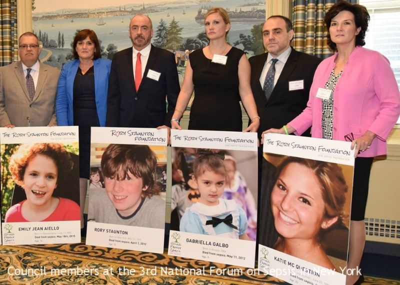 Council members with images of their children lost to sepsis at the 3rd Annual National Forum on Sepsis, 2016
