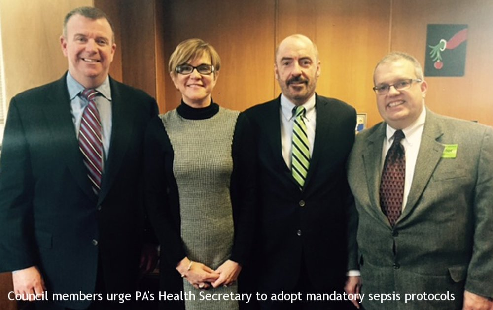 Council members meeting with the PA Health Commissioner regarding mandatory sepsis protocols in the state